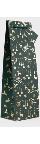 1 bt Gift Bag - Green/Gold Christmas